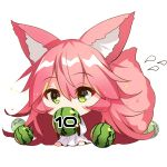 1girl animal_ear_fluff animal_ears bangs barefoot chibi covered_mouth dress eyebrows_visible_through_hair flying_sweatdrops food fox_ears fox_girl fox_tail fruit green_eyes hair_between_eyes holding holding_food long_hair long_sleeves original pink_hair sidelocks simple_background sitting solo tail tail_raised very_long_hair watermelon white_background white_dress wide_sleeves yuuji_(yukimimi)
