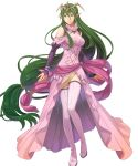 1girl boots breasts dress fire_emblem fire_emblem:_mystery_of_the_emblem fire_emblem_heroes full_body green_hair hair_ornament highres jewelry long_hair low_twintails medium_breasts nagi_(fire_emblem) non-web_source official_art okaya_mrh pink_dress pointy_ears shiny shiny_hair solo thigh-highs thigh_boots tiara transparent_background twintails very_long_hair