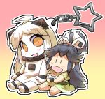 2girls ahoge barefoot black_hair chibi collar commentary_request food food_on_face hair_ribbon hisahiko holding holding_food horns japanese_clothes kantai_collection katsuragi_(kantai_collection) keychain long_hair long_sleeves mittens multiple_girls northern_ocean_hime onigiri open_mouth orange_eyes ponytail ribbon shinkaisei-kan short_sleeves sitting skirt smile star white_hair wide_sleeves younger