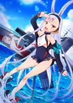 1girl animal_ears azur_lane breasts clouds cocoablue23 collarbone commentary_request dutch_angle full_body highres long_hair looking_at_viewer ocean open_mouth rabbit_ears ribbon rigging salute shimakaze_(azur_lane) silver_hair sky small_breasts solo torpedo_tubes water yellow_eyes