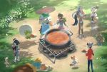 1girl ^_^ apron bangs barefoot black_hair blue_eyes blue_hair brown_hair cardigan closed_eyes curry curry_rice dark_skin day drednaw earrings eating eldegoss facing_away female_protagonist_(pokemon_swsh) food from_above gen_3_pokemon gen_7_pokemon gen_8_pokemon gloves grass green_headwear grey_cardigan grookey gym_leader hairband hat hitmontop hoop_earrings jewelry knee_pads long_hair long_sleeves looking_at_another male_protagonist_(pokemon_swsh) midriff mimikyu multicolored_hair nin_(female) open_mouth orange_hair outdoors pants plate poke_ball poke_ball_(generic) pokemon pokemon_(creature) pokemon_(game) pokemon_swsh pot rice rurina_(pokemon) saitou_(pokemon) scorbunny shoes short_hair short_shorts short_sleeves shorts smile sneakers sonia_(pokemon) standing steam sun_hat tam_o'_shanter tree two-tone_hair very_long_hair white_footwear yarrow_(pokemon)