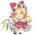 1girl ascot bat_wings blonde_hair blush bow chibi crossed_legs eyebrows_visible_through_hair fangs flandre_scarlet frills full_body hat hat_bow kneeling looking_at_viewer low_wings mob_cap outstretched_arms pointy_ears puffy_short_sleeves puffy_sleeves red_eyes satou_kibi shoes short_hair short_sleeves side_ponytail simple_background skirt skirt_set slit_pupils socks solo spread_arms touhou white_background wings wrist_cuffs yellow_neckwear
