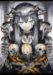 1girl bangs blurry blurry_background cable choker commentary_request cyborg gia grey_eyes headgear highres long_hair looking_at_viewer mechanical_hands original pale_skin signature silver_hair skull solo straight_hair tattoo