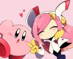 1boy 1girl blush closed_eyes disembodied_hands kirby kirby_(series) pink_hair pink_skin susie_(kirby) suzuyuki_cafe v
