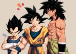 +++ 3boys =3 ^_^ abs arm_at_side arm_scar beige_background black_eyes black_hair broly_(dragon_ball_super) chest_scar closed_eyes clothes_around_waist clothes_writing crossed_arms dougi dragon_ball dragon_ball_super_broly facial_scar frown gloves highres light_smile looking_at_another looking_down male_focus mattari_illust multiple_boys nipples open_mouth outstretched_arms profile purple_legwear scar scar_on_cheek serious shirtless sigh simple_background smile son_gokuu spiky_hair standing teeth twitter_username upper_body upper_teeth vegeta waist_cape white_gloves wristband