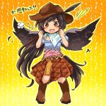 +_+ 1girl arms_up bandana bird_wings black_hair blush boots brown_eyes brown_footwear brown_headwear chibi clenched_hands cowboy_boots cowboy_hat crossed_bandaids dress feathered_wings feathers full_body gradient gradient_background hat hat_feather horse_tail kurokoma_saki layered_dress long_hair looking_at_viewer open_mouth orange_background outline ponytail pote_(ptkan) solo sparkle_background standing tachi-e tail torn_clothes torn_dress touhou translation_request very_long_hair wings yellow_background