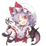 1girl bat bat_wings blush bow chibi crossed_legs eyebrows_visible_through_hair fangs frills full_body hat hat_bow lavender_hair looking_at_viewer low_wings mob_cap pointy_ears puffy_short_sleeves puffy_sleeves red_eyes remilia_scarlet satou_kibi shoes short_hair short_sleeves simple_background sitting skirt skirt_set slit_pupils socks solo touhou white_background wings wrist_cuffs