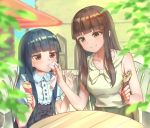 2girls bangs beige_shirt black_dress black_hair blue_hair blunt_bangs blush breasts brown_eyes commentary_request crepe dress eyebrows_visible_through_hair food frown holding holding_food idolmaster idolmaster_cinderella_girls idolmaster_cinderella_girls_starlight_stage kurokawa_chiaki long_hair medium_breasts multiple_girls red_eyes sajou_yukimi shirt shoukichi_(shony) sitting smile table white_dress