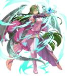 1girl boots breasts dragon_tail dragon_wings dress fire_emblem fire_emblem:_mystery_of_the_emblem fire_emblem_heroes floating floating_object full_body green_eyes green_hair hair_ornament highres jewelry long_hair looking_away low_twintails medium_breasts nagi_(fire_emblem) non-web_source official_art okaya_mrh open_mouth pink_dress pointy_ears shiny shiny_hair smile solo stone tail thigh-highs thigh_boots tiara transparent_background twintails very_long_hair wings