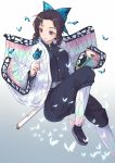 1girl animal animal_on_hand bangs black_hair black_jacket black_pants breasts butterfly_hair_ornament butterfly_on_finger commentary_request forehead gradient gradient_background grey_background grey_footwear hair_ornament highres itachi_kanade jacket katana kimetsu_no_yaiba kochou_shinobu long_sleeves looking_away medium_breasts open_clothes pants parted_bangs parted_lips sheath sheathed sidelocks solo sword violet_eyes weapon white_background white_legwear wide_sleeves zouri