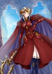 1girl adsouto armor axe blonde_hair blue_eyes breasts cape crown edelgard_von_hresvelg fire_emblem fire_emblem:_three_houses full_body gloves hair_ornament highres horns long_hair looking_at_viewer red_cape simple_background solo weapon