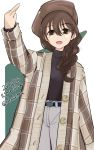 1girl bangs belt braid brown_eyes brown_hair coat girls_und_panzer hat long_hair long_sleeves middle_finger open_mouth pants rukuriri rukuriritea smile solo turtleneck