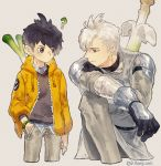 2boys ? armor black_hair bracelet cropped_legs farfetch'd gloves grey_background hand_in_pocket highres hood hood_down humanization jacket jewelry kneeling leeis_cool looking_at_another multicolored_hair multiple_boys open_clothes open_jacket personification pokemon shoulder_armor silver_hair simple_background sirfetch'd smile spring_onion two-tone_hair weapon weapon_on_back