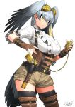 1girl alternate_costume bird_tail black_hair boots brown_gloves closed_mouth commentary_request cowboy_shot dated eyebrows_visible_through_hair fingerless_gloves gloves green_eyes grey_hair gun hair_between_eyes handgun happa_(cloverppd) head_wings kemono_friends multicolored_hair shoebill_(kemono_friends) short_sleeves shorts signature simple_background solo thigh-highs thigh_boots thighhighs_under_boots weapon white_background