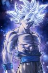 1boy abs arms_at_sides aura black_background blurry bokeh bruise chest dark_background depth_of_field dougi dragon_ball dragon_ball_super expressionless floating_hair frown gradient gradient_background grey_eyes highres injury light_particles looking_away male_focus mattari_illust muscle nipples pectorals purple_background serious shaded_face shirt shirtless simple_background son_gokuu spiky_hair torn_clothes torn_shirt twitter_username ultra_instinct upper_body white_background white_hair