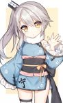 1girl :o beige_background blue_kimono blush bow brown_bow brown_eyes frilled_sleeves frills fur_collar grey_hair hair_ornament hand_up head_tilt japanese_clothes kimono long_hair long_sleeves multicolored_hair ning_hai_(warship_girls_r) obi parted_lips sash short_kimono side_ponytail single_thighhigh sleeves_past_fingers sleeves_past_wrists solo tengxiang_lingnai thigh-highs two-tone_hair warship_girls_r white_background white_legwear wide_sleeves