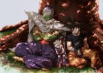 3boys black_hair boots cape closed_eyes crossed_arms dappled_sunlight day dougi dragon_ball dragon_ball_z expressionless father_and_son fingernails foot_out_of_frame frown full_body grass highres indian_style leaning leaning_on_person male_focus mattari_illust multiple_boys nature outdoors parted_lips piccolo pointy_ears serious sitting sleeping sleeping_on_person sleeping_upright son_gohan son_gokuu spiky_hair sunlight tree tree_shade turban wristband