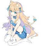 1girl animal_ear_fluff animal_ears bandeau bangs bare_shoulders bell blonde_hair blue_bandeau blue_bow blue_eyes blue_sky blush bow breasts cat_ears cat_girl cat_hair_ornament cat_tail closed_mouth commentary_request eyebrows_visible_through_hair full_body fur-trimmed_bandeau fur-trimmed_gloves fur_trim gloves hair_between_eyes hair_bobbles hair_ornament highres jingle_bell long_hair looking_away no_shoes nyum original sidelocks simple_background sitting sky small_breasts smile solo tail tail_bell tail_bow thigh-highs very_long_hair wariza white_background white_gloves white_legwear