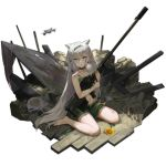 1girl alternate_costume animal_ears anti-materiel_rifle bangs barefoot bleeding blood braid breasts choker closed_mouth dress drone flower full_body girls_frontline green_dress green_eyes green_hairband green_ribbon grey_hair gun hair_between_eyes hair_flower hair_ornament hair_over_shoulder hair_ribbon hairband holding holding_gun holding_weapon injury jewelry ksvk_(girls_frontline) ksvk_12.7 long_hair looking_at_viewer navel necklace official_art pandea_work ribbon rifle sandals sitting smile sniper_rifle solo sunflower torn_clothes torn_dress transparent_background very_long_hair wariza weapon younger