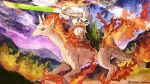 camomi commentary gen_1_pokemon gen_8_pokemon highres holding holding_leaf holding_shield holding_weapon horseback_riding leaf mountain no_humans outdoors pokemon rapidash riding shield sirfetch'd twitter_username weapon