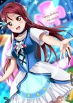 1girl artist_name birthday breasts character_name check_commentary choker collarbone commentary_request dated english_text hair_ornament happy_birthday highres long_hair love_live! love_live!_sunshine!! redhead sakurauchi_riko short_sleeves small_breasts solo water_blue_new_world xiaoxin041590 yellow_eyes