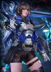 1girl akira_howard artist_request astral_chain brown_eyes brown_hair chain gloves hair_ornament jacket long_sleeves looking_at_viewer police police_uniform short_hair simple_background solo thick_lips uniform weapon