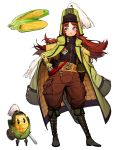 1girl belt blue_eyes boots closed_eyes coat corn eyebrows_visible_through_hair gloves green_coat green_footwear hand_on_hip helmet highres long_hair original pants plume pocket redhead rinotuna sheath sheathed shield simple_background standing sword weapon white_background