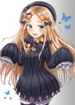 1girl abigail_williams_(fate/grand_order) admjgdme bangs black_bow black_headwear blonde_hair blue_eyes blush bow commentary_request dress fate/grand_order fate_(series) hair_bow hat highres long_hair long_sleeves looking_at_viewer orange_bow parted_bangs polka_dot polka_dot_bow sleeves_past_fingers sleeves_past_wrists solo very_long_hair