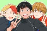 3boys :d ;d black_hair blonde_hair brown_eyes brown_hair double_v fang freckles grey_eyes jacket ji_guang-hong male_focus minami_kenjirou multicolored_hair multiple_boys one_eye_closed open_mouth phichit_chulanont redhead self_shot smile takeshi_(mononohu20) track_jacket two-tone_hair upper_body v v_over_eye yuri!!!_on_ice