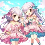 2girls :d ahoge aqua_ribbon aqua_shorts aqua_skirt bangs belt black_bow bow bra_strap bracelet braid brown_eyes buttons choker closed_mouth clouds cloudy_sky collared_dress day dot_nose dress eyebrows_visible_through_hair falling_petals floral_print flower flower_bracelet frilled_dress frilled_shorts frilled_sleeves frills hair_bow hair_flower hair_ornament hair_ribbon hisakawa_hayate hisakawa_nagi idolmaster idolmaster_cinderella_girls jewelry juliet_sleeves knees_together_feet_apart layered_dress lm long_hair long_sleeves low_twintails multiple_girls one_eye_closed open_mouth outstretched_arm pink_dress pink_ribbon pink_skirt puffy_sleeves ribbon shorts siblings sidelocks silver_hair skirt skirt_set sky smile swept_bangs tareme twins twintails underskirt w wide_sleeves