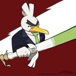artist_name bird bird_focus brown_eyes duck formal gen_8_pokemon green_neckwear highres holding holding_weapon necktie no_humans pokemon pokemon_(creature) red_background signature simple_background sirfetch'd solo spring_onion suit unibrow weapon zach_morris_(willdraw)