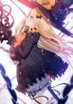 1girl abigail_williams_(fate/grand_order) absurdres bangs black_bow black_dress black_headwear blonde_hair bloomers blue_eyes blurry blurry_background blurry_foreground blush bow bug butterfly depth_of_field dress fate/grand_order fate_(series) hair_bow hat highres insect long_hair long_sleeves looking_away multiple_bows multiple_hair_bows non-web_source object_hug orange_bow parted_bangs parted_lips polka_dot polka_dot_bow profile scan sleeves_past_fingers sleeves_past_wrists solo stuffed_animal stuffed_toy tears teddy_bear underwear very_long_hair white_background white_bloomers witch_hat yano_mitsuki