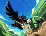 alex_ahad battle beak blue_sky blurry blurry_background corviknight feathered_wings feathers flying gen_8_pokemon looking_at_another open_mouth pokemon pokemon_(creature) red_eyes shield sirfetch'd sky speed_lines spring_onion standing sword talons thick_eyebrows weapon wings