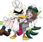 !? 1girl blush brown_footwear brown_hair carrying female_protagonist_(pokemon_swsh) gen_8_pokemon green_headwear pokemon pokemon_(creature) pokemon_(game) pokemon_swsh princess_carry simple_background sirfetch'd sketch skirt socks sparkle spring_onion tam_o'_shanter tears white_background