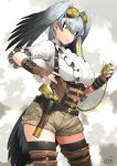 1girl alternate_costume bird_tail black_hair boots brown_gloves closed_mouth commentary_request cowboy_shot dated eyebrows_visible_through_hair fingerless_gloves gloves green_eyes grey_background grey_hair gun hair_between_eyes handgun happa_(cloverppd) head_wings kemono_friends multicolored_hair shoebill_(kemono_friends) short_sleeves shorts signature solo steampunk thigh-highs thigh_boots thighhighs_under_boots weapon