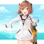 1girl :d bag binoculars blue_sky blush brown_eyes brown_hair clouds cowboy_shot eyebrows_visible_through_hair eyes_visible_through_hair headset highres jacket kantai_collection legs legs_together lifebuoy looking_at_viewer mouth ocean open_mouth school_swimsuit short_hair shoulder_bag sky smile speaking_tube_headset swimsuit swimsuit_under_clothes teeth torpedo translated white_jacket yellow_bag yukikaze_(kantai_collection) yunamaro