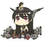 1girl black_gloves black_hair blush bug butterfly butterfly_on_head chibi elbow_gloves fingerless_gloves gloves headgear insect kamata_yuuya kantai_collection long_hair nagato_(kantai_collection) open_mouth pleated_skirt red_eyes rigging simple_background sitting skirt solo turret very_long_hair white_background white_skirt