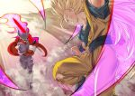 2boys absurdly_long_hair blonde_hair blue_eyes boots bruise clenched_teeth dougi dragon_ball dragon_ball_z energy energy_sword evil_smile fighting_stance flying grin holding holding_sword holding_weapon horns injury janemba long_hair looking_at_another male_focus mattari_illust multiple_boys pants pointy_ears profile sharp_teeth shirt smile son_gokuu super_saiyan_3 sword teeth torn_clothes torn_legwear torn_pants torn_shirt twitter_username very_long_hair weapon wide_shot wristband