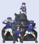 4girls akiyama_yukari andou_(girls_und_panzer) bc_freedom_(emblem) bc_freedom_military_uniform bc_freedom_school_uniform black_hair blonde_hair blue_eyes blue_headwear blue_jacket blue_vest boots brown_eyes brown_hair cake camera closed_eyes drill_hair eating emblem food ft-17 girls_und_panzer ground_vehicle hat jacket kepi kneeling long_hair long_sleeves marie_(girls_und_panzer) medium_hair messy_hair military military_vehicle motor_vehicle multiple_girls necktie open_mouth oshida_(girls_und_panzer) pleated_skirt recording school_uniform short_hair sitting skirt skrmtl smile sweater tank thighs vest white_skirt