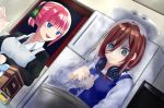 2girls apron ayauchi bangs black_ribbon blue_apron blue_eyes blunt_bangs bowl box brown_hair butterfly_hair_ornament closed_mouth cooking dutch_angle go-toubun_no_hanayome hair_between_eyes hair_ornament hair_ribbon headphones headphones_around_neck highres indoors kitchen long_sleeves multiple_girls nakano_miku nakano_nino open_mouth pink_hair ponytail refrigerator ribbon spoon stirring sweatdrop