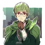 1boy artist_name brown_eyes burasto cape feathers fingerless_gloves fire_emblem fire_emblem:_three_houses glasses gloves green_hair ignatz_victor solo upper_body white_background