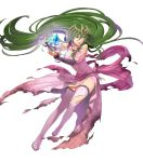 1girl boots breasts dress fire_emblem fire_emblem:_mystery_of_the_emblem fire_emblem_heroes floating floating_object full_body green_eyes green_hair hair_ornament highres jewelry long_hair looking_away low_twintails medium_breasts nagi_(fire_emblem) non-web_source official_art okaya_mrh open_mouth pink_dress pointy_ears shiny shiny_hair solo stone thigh-highs thigh_boots tiara torn_clothes transparent_background twintails very_long_hair