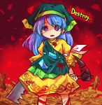 1girl apron blue_hair crazy_eyes dress embers english_text haniyasushin_keiki head_scarf holding holding_weapon leg_ribbon long_hair looking_at_viewer magatama_necklace pote_(ptkan) red_sky ribbon sky solo standing torn_apron touhou violet_eyes weapon yellow_dress