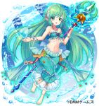 1girl breasts bubble copyright_request green_eyes green_hair heart heart_bubbles jewelry long_hair medium_breasts meisuke_mei midriff navel necklace official_art pearl_(gemstone) pearl_necklace pointy_ears shell smile solo starfish underwater very_long_hair wand