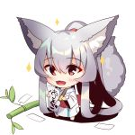 1girl :d absurdly_long_hair animal_ear_fluff animal_ears bamboo bangs barefoot blush calligraphy_brush chibi eyebrows_visible_through_hair fox_ears fox_girl fox_tail full_body hair_between_eyes high_ponytail holding holding_paintbrush japanese_clothes kimono long_hair long_sleeves looking_away obi open_mouth original paintbrush patches ponytail red_eyes sash sidelocks silver_hair smile solo sparkle standing tail tail_raised tanabata tanzaku translated very_long_hair white_background white_kimono wide_sleeves yuuji_(yukimimi)