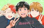 3boys :d ;d animal_ears black_hair blonde_hair brown_eyes brown_hair cat_ears double_v english_text fang freckles grey_eyes jacket ji_guang-hong male_focus minami_kenjirou multicolored_hair multiple_boys one_eye_closed open_mouth phichit_chulanont redhead self_shot smile takeshi_(mononohu20) track_jacket two-tone_hair upper_body v v_over_eye whiskers yuri!!!_on_ice