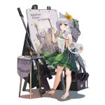 1girl alternate_costume animal_ears anti-materiel_rifle bangs blush braid breasts canvas_(object) choker closed_mouth dress easel flower full_body girls_frontline green_dress green_eyes green_hairband green_ribbon grey_hair gun hair_between_eyes hair_flower hair_ornament hair_over_shoulder hair_ribbon hairband holding holding_paintbrush ksvk_(girls_frontline) ksvk_12.7 long_hair looking_at_viewer official_art paintbrush painting painting_(object) palette pandea_work ponytail ribbon rifle sandals smile sniper_rifle solo standing sunflower table transparent_background very_long_hair weapon younger