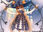 1girl abigail_williams_(fate/grand_order) bangs bdsm black_headwear blonde_hair blue_eyes blush bondage bound bow fate/grand_order fate_(series) gagged haimei1980 hat key keychain keyhole long_hair looking_at_viewer object_hug orange_bow parted_bangs pixiv_id polka_dot polka_dot_bow red_eyes restrained solo tied_up twitter_username underwear very_long_hair witch_hat