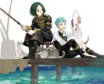 2boys blue_eyes blue_hair boots caspar_von_bergliez cat epaulettes fire_emblem fire_emblem:_three_houses fishing_rod garreg_mach_monastery_uniform green_hair linhardt_von_hevring long_hair low_ponytail mikami multiple_boys open_mouth sitting teeth uniform water white_background