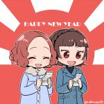 2girls :d bangs blue_coat blunt_bangs braid brown_eyes brown_hair chibi coat crown_braid do_m_kaeru double-breasted flat_color fur-trimmed_jacket fur_trim happy_new_year holding jacket long_sleeves multiple_girls new_year niijima_makoto okumura_haru open_mouth persona persona_5 short_hair smile sunburst twitter_username upper_body |d